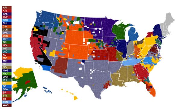 Ubicación geográfica de fanáticos por equipo según datos de FB