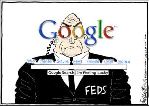 """Viñeta de Google """"el ojo que todo lo ve""""."""